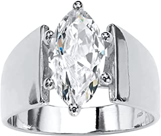 Sterling Silver Marquise Cut Cubic Zirconia Wide Band Solitaire Engagement Ring