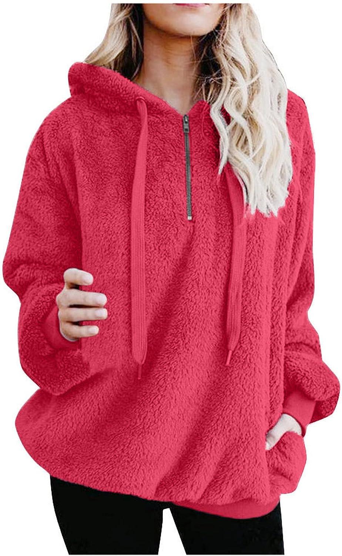 Xinantime Women 1/4 Zipper Pullover Sweatshirts Long Sleeve V-Neck Tops Fleece Winter Warm Plain Jumper with Pocket