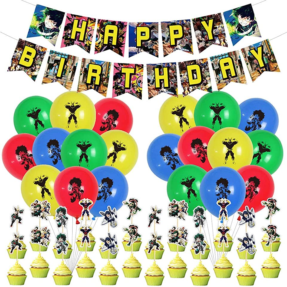 My Hero Academia Birthday Party Decorations Manga Theme Supplies 20 Pieces Colorful Balloons, 1 Happy Birthday Banner, 1 Big cake inserted card,24 Pack Cake Toppers for MHA Fans Boys Girls Gift