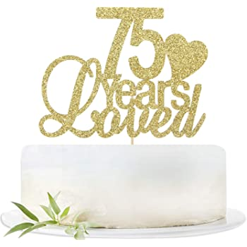 Happy 75Th Birthday Cake Topper GOLD Party Decoration Supplies PARTY