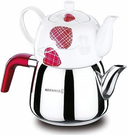 Preisvergleich für Korkmaz Teekanne Teekocher Caydanlik Hochwertiger Edelstahl Porzellan Herze