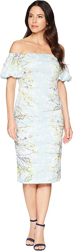 Blossom Branch Cotton Sheath Dress