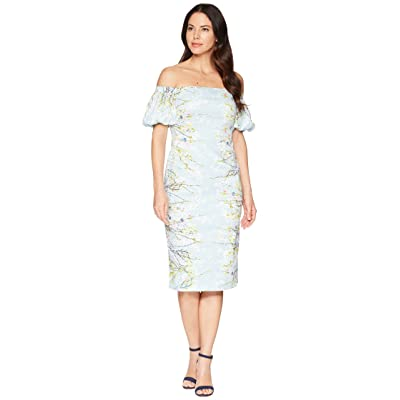 Maggy London Blossom Branch Cotton Sheath Dress (Baby Aqua/Multi) Women