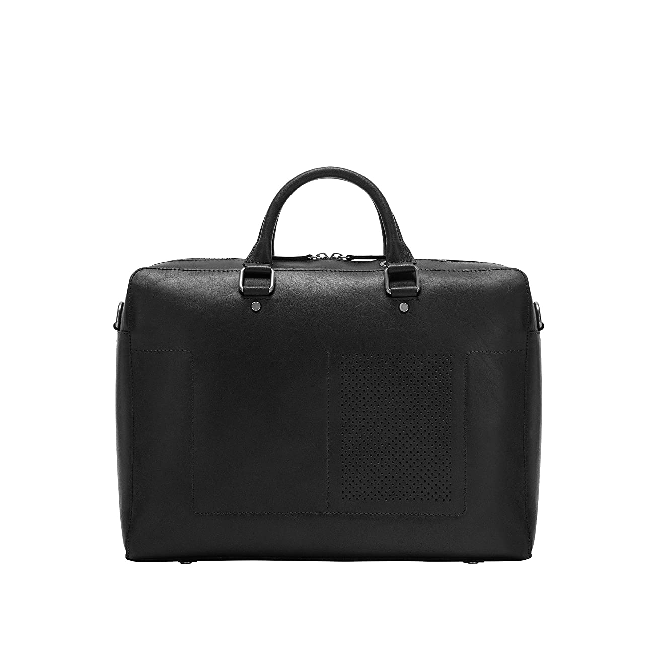 DUDU Leather Briefcase Messenger Bag Laptop Bag for Men Two Handles with Strap and Zip Closure Black