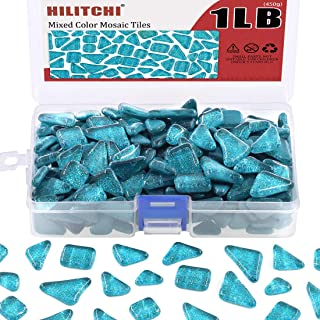Hilitchi 1lb Assorted Stained Glass Mosaic Tile Mixed Shapes and Colors Glass Pieces for DIY Crafts, Plates, Picture Frames, Flowerpots, Handmade Jewelry and More (Glittery Peacock Green)