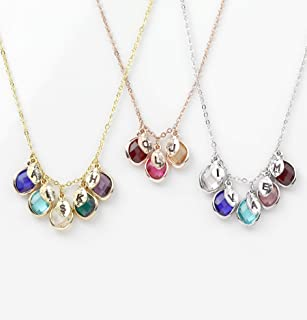 Gift for Her Personalized Birthstone Necklace Mothers Day Jewelry Initial Necklace for Women Birthstone Gift Grandma Necklace - BSON-H-L-D