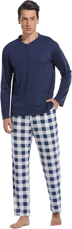 Vlazom Men's Pajama Sets Cotton Soft Men Pj's Sets Long Sleeve Top and Plaid Fleece Pants for Loungewear Sleepwear PJs S-XXL