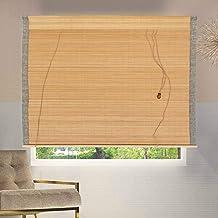 uyoyous بامبو ستائر نافذة طبيعية ترشيح الضوء ستائر ملفوفة مع ستارة خيزرانية ستائر داخلية في الهواء الطلق للشرفة المطبخ الفناء