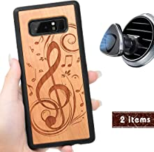 iProductsUS Wood Phone Case Compatible with Samsung Galaxy Note 8 and Magnetic Mount, Engrave Music Sign, Built-in Metal Plate, TPU Protective Shockproof Covers (6.3 inch)