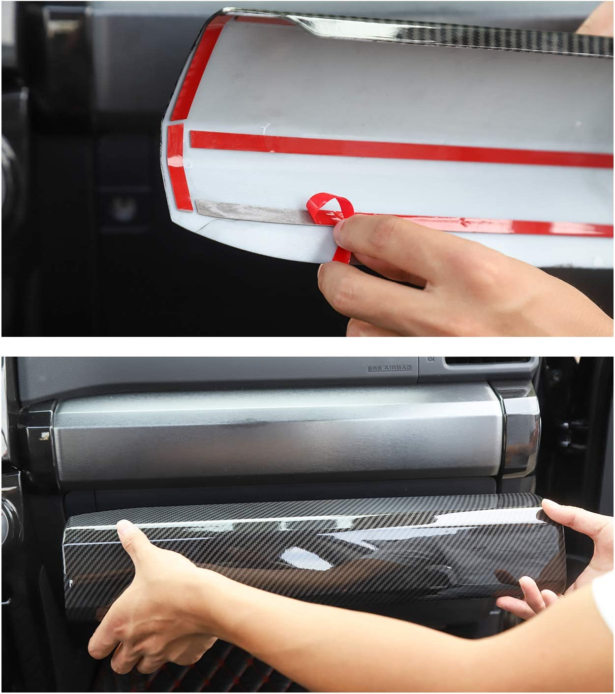 JeCar Car Center Console Co-Pilot Passenger Side Strip Decoration Panel Cover Trim for Toyota 4Runner 2010-2020 Red