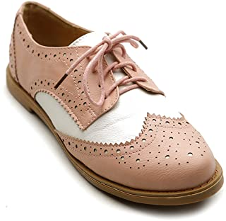 Ollio Womens Flat Shoe Wingtip Lace Up Two Tone Oxford