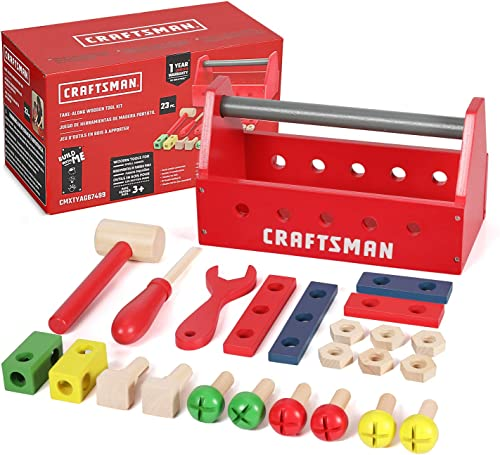 high quality Craftsman 23pcs Take-Along Wooden Tool Kit, Building Toy Set Creative&Educational wholesale Construction Toy, new arrival Great Gift for Toddlers 3+ outlet online sale