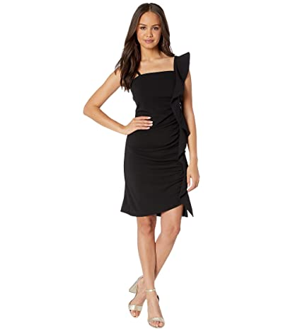 Sam Edelman Ruffle One Shoulder Sheath (Black) Women