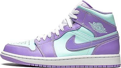 Men's Jordan 1 Mid Purple/Aqua-White (554724 500) -