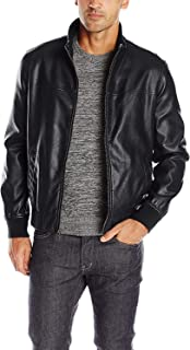 Men's Smooth Lamb Faux Leather Unfilled Bomber Jacket