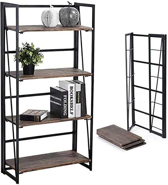 Coavas No Assembly Folding Bookshelf Storage Shelves 4 Tiers Bookcase Home Office Cabinet Industrial Standing Racks Study Organizer