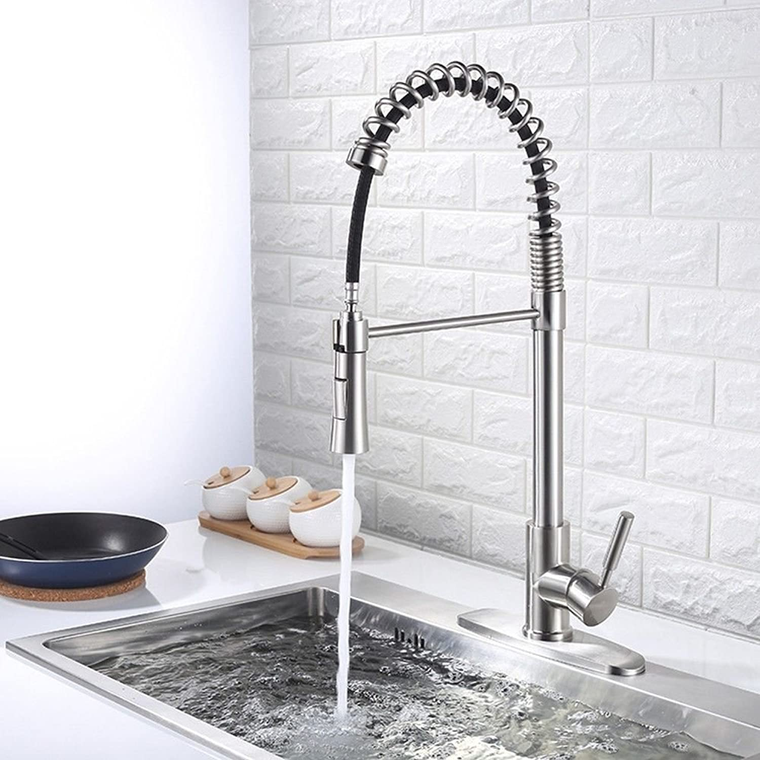 SADASD Modern Bathroom Basin Faucet Copper Single Joint Pull Washbasin Sink Taps Ceramic Valve Single Hole Single Handle Hot and Cold Mixer Tap With G1 2 Hose