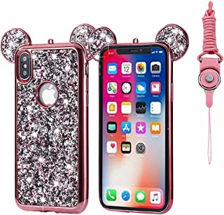 iPhone X Case, Umiko(TM) Super Cute Sparkle Bling Bling Glitter 3D Disney Mickey Mouse Ears Soft Protective TPU Rubber Case with Strap for Apple iPhone X (2017), Rose Gold