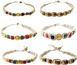 6 PCS Hemp Bracelet Set for Men 6 PCs - Rasta Bracelets Pack with Jamaican Color Beads - Handmade - Braided with Natural Rope - Mens Reggae Theme Surfer Summer Jewelry