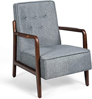 Giantex Mid Century Wooden Accent Arm Chair, Retro Upholstered Wooden Lounge Chair, Rubber Wood, Perfect for Living Room, Balcony, Company Lobby, Club Chair (Farbic, Gray)