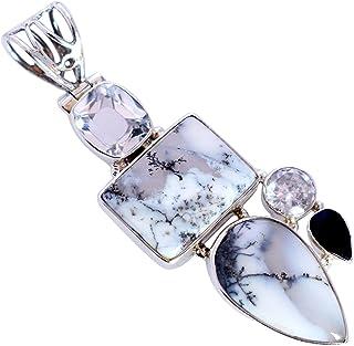 Ravishing Impressions Jewellery Ópalo dendrítico y cristal cuarzo piedra preciosa 925 sólida plata esterlina colgante bast...