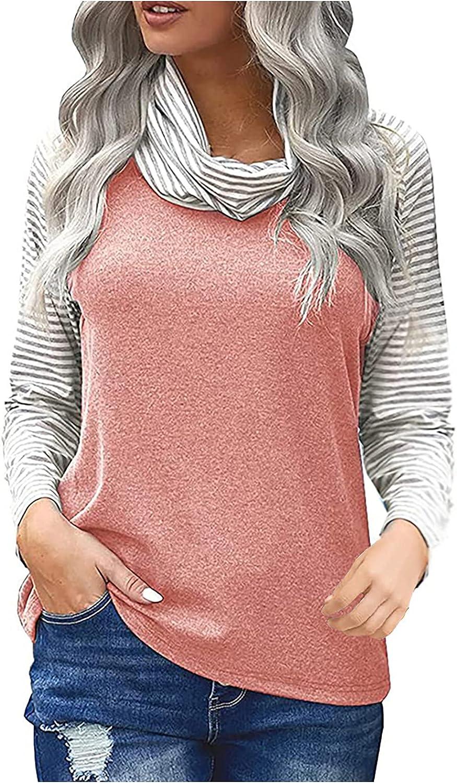 Women's Striped Turtleneck Colorblock Long Sleeve T-Shirt Tops Summer Autumn