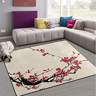 Naanle Japanese Area Rug 5'x7', Ancient Artistic Cherry Blossom Polyester Area Rug Mat for Living Dining Dorm Room Bedroom Home Decorative