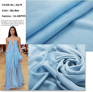 F.d.silk Sky Blue 100% Pure Silk Chiffon Fabric By the Yard, 48 Colors, Sky Blue Ch-017