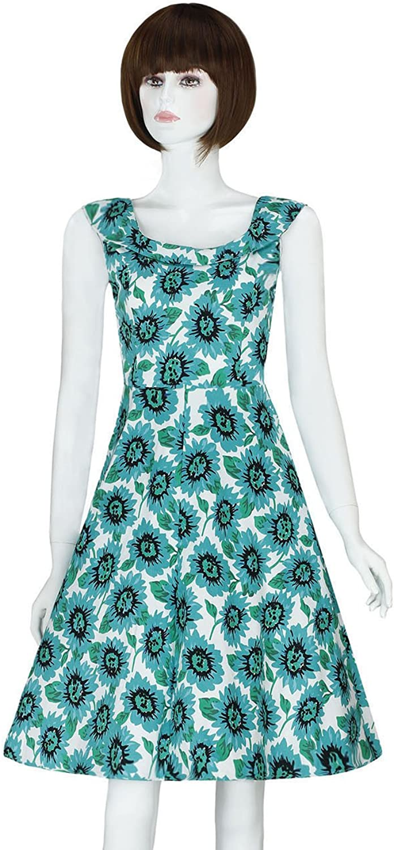 ADAMARIS Women's Classic Summer Vintage Floral Printed Sleeveless Swing Dress