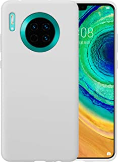 DEVMO Phone Case Compatible with Huawei MATE30 Liquid Silicone Phone Case Gel Rubber Full Body Protection Shockproof Cover Case Drop Protection White