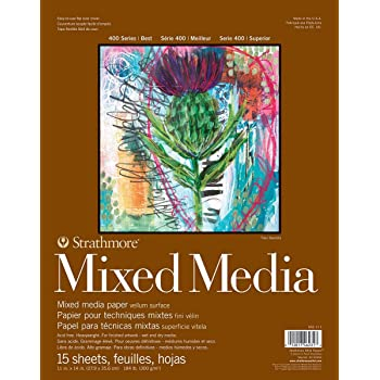 "Strathmore 462-111 400 Series Mixed Media Pad, 11""x14"" Glue Bound, 15 Sheets"