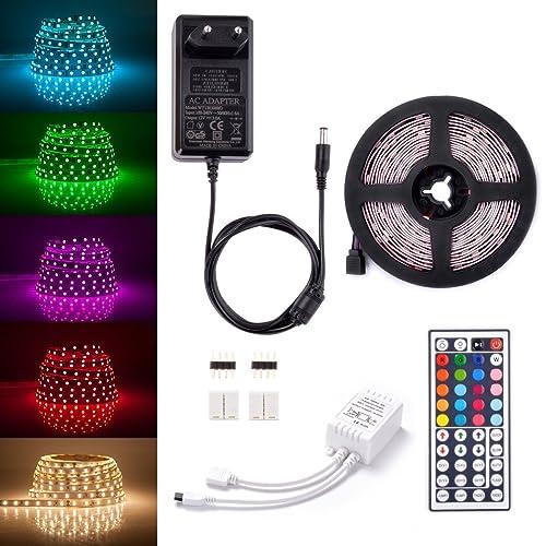 Sunix® Kit de Ruban LED RGB 5M 5050 SMD 150 LEDs, Adapteur Flexible Strip Light + télécommande à Infrarouge 44 Touches + Alimentation 3A 12V