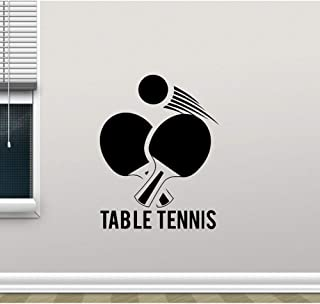 zrisic Wall Stickers Table Tennis Wall Decals Ping Pong Sport Vinyl Decal Mural Removable Wall Glass Decor Self Adhesive Wallpaper 42x45cm