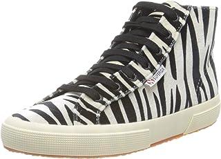 Superga 2795-fanvelvetw, Plat Oxford Baskets Montantes Femme - Zebra Black-Beige (A0M) - 38 EU