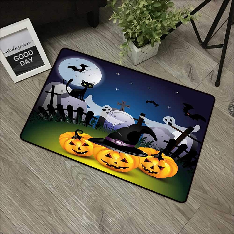 Bathroom Anti-Slip Door mat W35 x L59 INCH Halloween,Funny Cartoon Design with Pumpkins Witches Hat Ghosts Graveyard Full Moon Cat,Multicolor Easy to Clean, Easy to fold,Non-Slip Door Mat Carpet