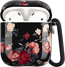 Airpods Case - LitoDream Cute Rose Apple Airpod Case Floral Accessories Protective Hard Case Cover Portable & Shockproof Women Girls Men with Keychain for Airpods 2/1 Charging Case (Rose Flower)