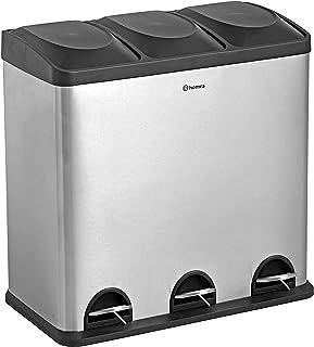 Homra Poubelle tri sélectif - 3 Compartiments - 60 litres (3 x 20 L) - Poubelle de Recyclage à Pédale - Design Poubelle - ...