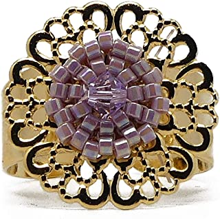 Anello ROSA fiore in ottone dorato oro 24 carati perline giapponese 20mm regolabile Natale festa delle madri nonne regalo ...