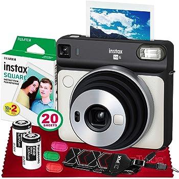 Fujifilm instax Square SQ6 Instant Film Camera (Pearl White) + 20 Sheets Instant Square Film + 20 Sheets Square Instant Film + Accessory Bundle (USA Warrantty)