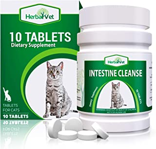 HerbalVet 10 Tablets Cat Intestinal Cleanse | Cat Dewormer Alternative | Cleansing Tablets for Cats, Promotes Intestinal Health | 4 Tablets, Works for Kittens | Helpful E-Book Included