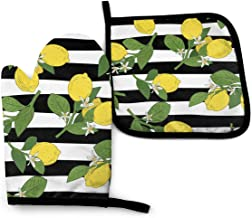 Msacrh Bright Yellow Lemons Oven Mitts and Pot Holders Sets of 4,Resistant Hot Pads with Polyester Non-Slip BBQ Gloves for Kitchen,Cooking,Baking,Grilling