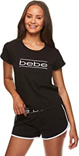 bebe Womens Graphic Short Sleeve Shirt and Pajama Shorts Lounge Sleepwear Set
