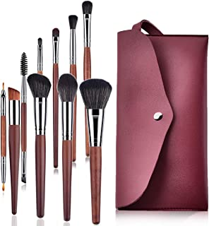 Makeup Brushes, 10 PCS Professional Cosmetic Brushes + 1 Tote Purse Premium Synthetic for Foundation Blending Blush Powder Blush Concealers Eye Shadows Brushes Sets