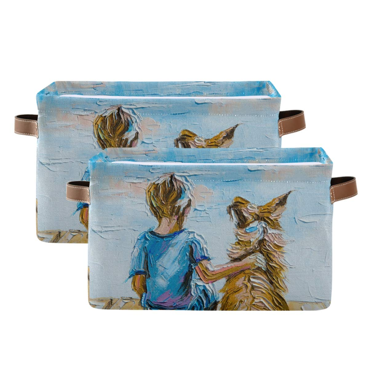 Kelekey Sea Boy with Dog Store Oil Painting Colla Large Basket Max 68% OFF Storage