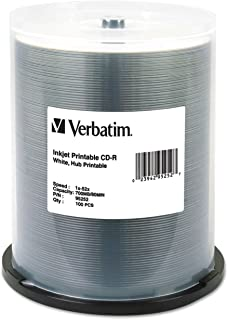 Verbatim CD-R 700MB 52X White Inkjet Hub Printable Recordable Media Disc - 100pk Spindle