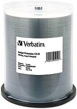 Verbatim CD-R 700MB 52X White Inkjet Hub Printable Recordable Media Disc - 100pk Spindle