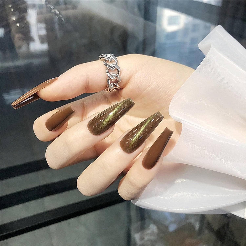 N\C High quality 24Pcs Fake Nails Cat Eye Effect Na Large discharge sale Designs Coffin False Long