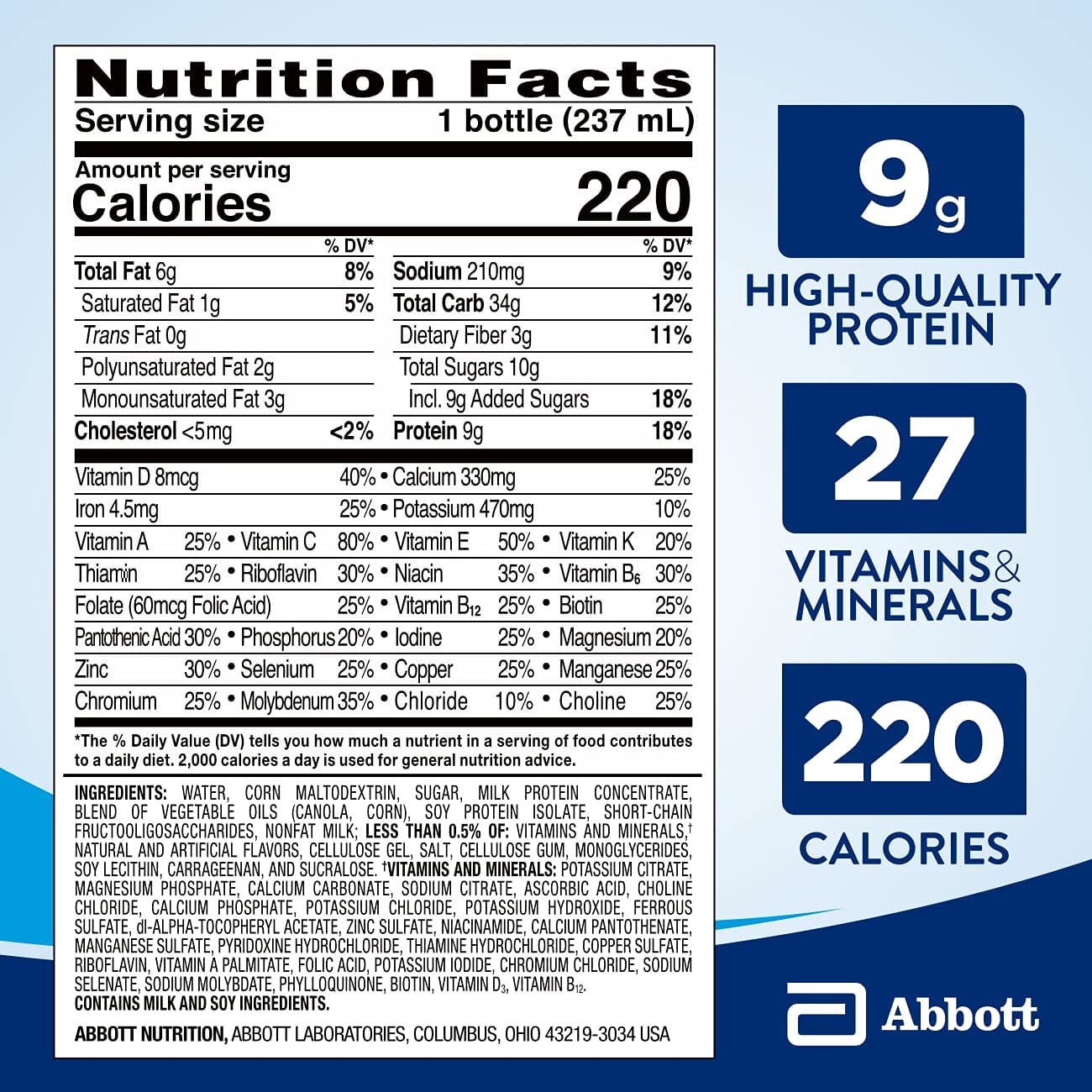 Ensure Original Nutrition Shake with Fiber, 9g High-Quality Protein, Meal Replacement Shakes, 8, 24 Count, Vanilla, 192 Fl Oz