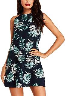 f9d36720ccc SUNNYME Femme Robe Épaules Dénudées Mini Robe Eté Tunique Florale Noir Robe  Casual Chemise Robe Décontractée