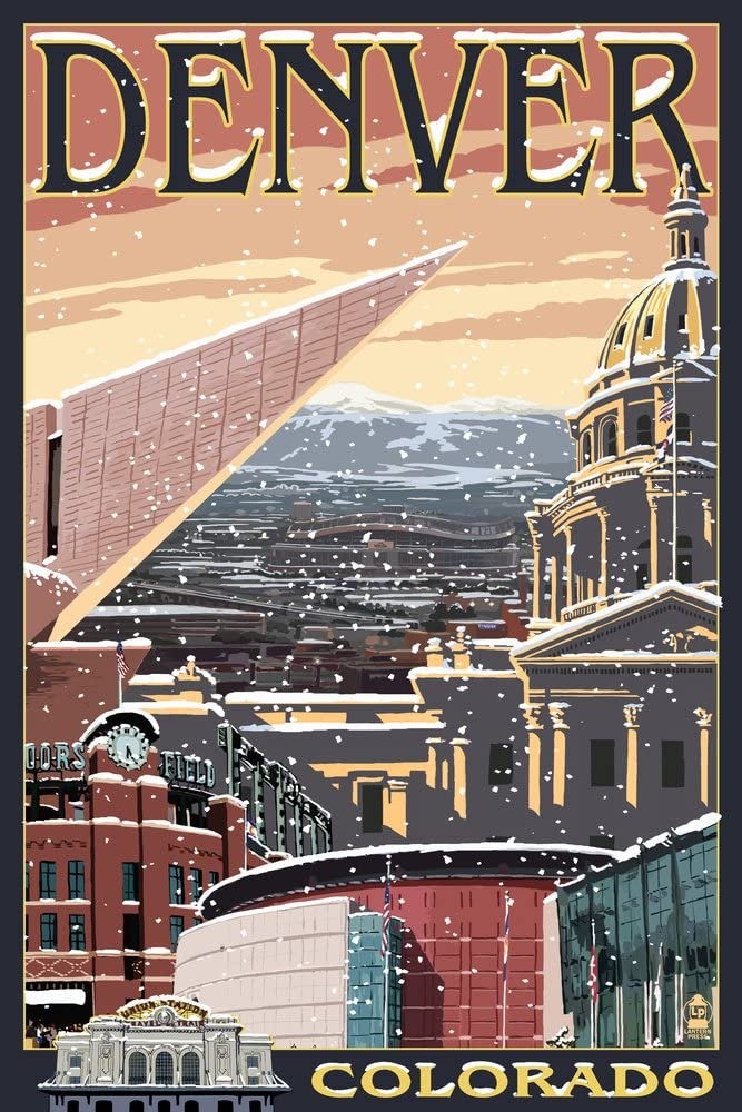 Denver Colorado - Skyline View in Giclee free Snow Gallery Clearance SALE! Limited time! Pr 36x54